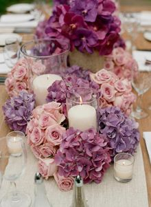 Jeff Leatham- Purple and Pink garden style table setting, Austin Wedding Planner