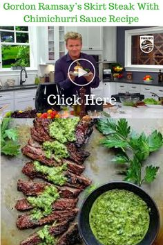 Gordon Ramsey's Skirt Steak with Chimichurri Sauce Recipe - - Watch Gordon Ramsay cook a tender and succulent Skirt Steak with the famous delicious Argentinean Chimichurri Sauce.and receive 7 FREE culinary gifts ! Steak Fajitas, Steak Braten, Jamie Oliver Steak, Gordon Ramsay Dishes, Chef Gordon Ramsay, Chef Recipes, Grilling Recipes, Sauce Recipes, Pureed Recipes