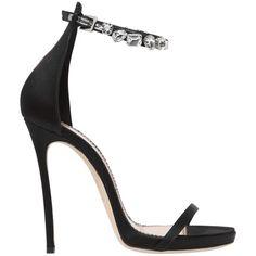 Dsquared2 Women 120mm Debra Swarovski & Satin Sandals (3.875 RON) ❤ liked on Polyvore featuring shoes, sandals, heels, sapatos, black, high heel platform shoes, leather sole shoes, black shoes, heeled sandals and platform shoes