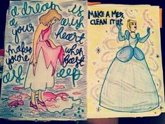 Wreck this journal, make a mess, clean it up, Disney cinderella inspired...♥