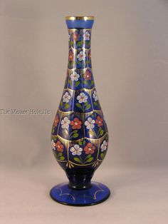 signed cobalt blue hand painted Pasabahce Istanbul Turkey bud vase floral gold