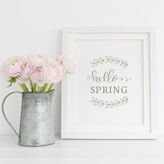 Free Hello Spring printable sign with hand lettering! An easy, quick way to add some rustic, spring decor to your home! Click to get the free spring printable!