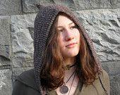 Pixie Hood in Terra Brown - Crochet Elfin Fairy Folk Woodland Hemp Wool Fantasy Eco friendly Autumn Fall Winter Fashion