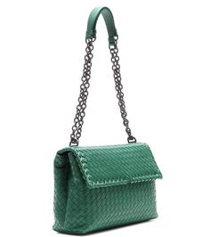 Bottega Veneta Olimpia green intrecciato leather shoulder bag