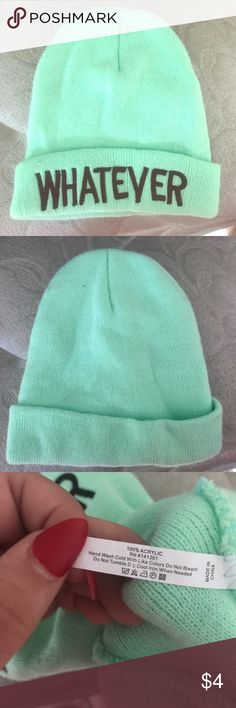 """Mint green """"whatever"""" beanie This mint green beanie is very comfy and stretchy Accessories Hats"""