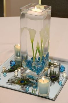 1000 images about centres de table de mariage on pinterest centre serum a - Centre de table avec miroir ...