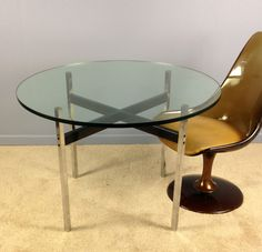 Mid Century Modern Dining Table 3 4 Thick Gl Top Chrome Legs X Base