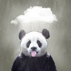 Panda Rain Art Print by Vin Zzep   Society6