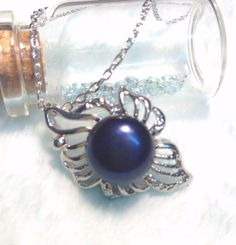 Genuine Freshwater black Pearl Hollow leaf Pendant Sterling Silver Necklace