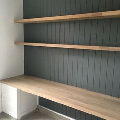 built in desk. VJ paneling, grey, white colour scheme