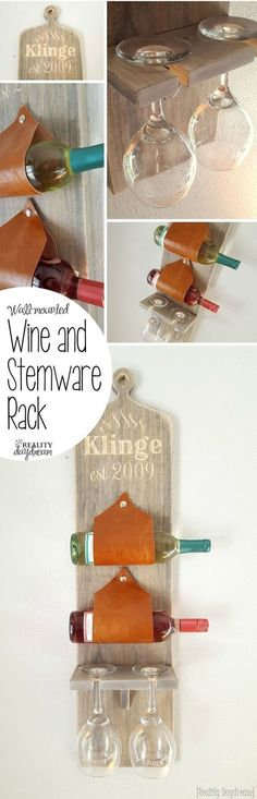 DIY TUTORIAL Wall-mounted wine and stemware rack... using leather as the sleeves! {Reality Daydream}