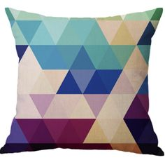 Creative Pattern Linen Cotton Throw Pillow Geometric Design Sofa Cushions For Sale