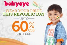 Babyoye Republic Day Sale offers UPTO 60% off Tees Shirts. Wear your pride this Republic Day.  http://www.paisebachaoindia.com/get-upto-60-off-tees-shirts-republic-day-sale-babyoye/