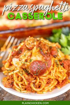 Pizza Spaghetti Casserole - pizza and pasta combined to make one amazing dinner the whole family will enjoy! Spaghetti, sausage, spaghetti sauce, pepperoni, and cheese. Can use any of your favorite pizza topping on top of the casserole. Get creative! You can make the casserole in advance and refrigerate or freeze for later. Serve with garlic bread and a salad for a super easy meal that is better than a restaurant! #casserole #spaghetti #sausage #pepperoni #pizza Pizza Spaghetti Casserole, Pizza Casserole, Casserole Recipes, Sausage Spaghetti, Pasta Recipes, Beef Recipes, Spaghetti Sauce, Chicken Recipes, Meals For The Week