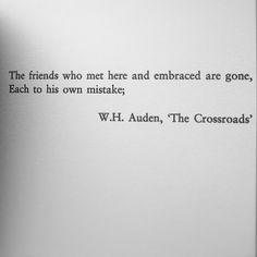 W.H. Auden, The Crossroads (Prologue to Amsterdam by Ian McEwan)