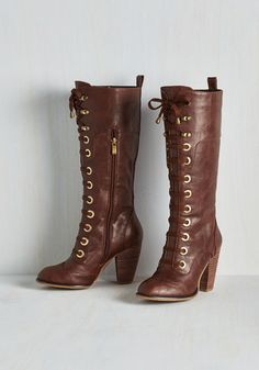 Prospectress Boot - Tan, Solid, Urban, Fall, Winter, Steampunk, Faux Leather, Lace Up, Mid, Best Seller, Basic, Scholastic/Collegiate, Gals, Knee, Boho