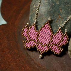 Lotus Blossom Beadwoven Necklace by OffTheBeadenPath on Etsy
