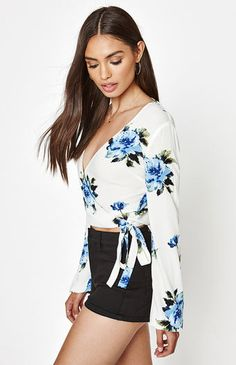 Long Sleeve Tie Front Top Pacsun
