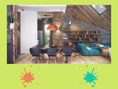 Verde lime, pavone e arancio bruciato: una contemporanea combinazione di colori per portare vitalità in un soggiorno open-space in stile industriale. Originali questi contrasti, non credi? #green #palette #colourfull #openspace #interiordesign