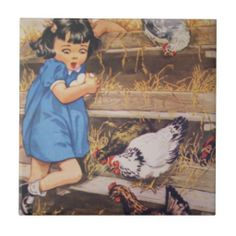 """Ceramic Kitchen Tile-Girl with Chicken Eggs  Custom Ceramic Tile for your country kitchen or bathroom. Nostalgic Farm Illustrations featuring kids and animals on Ceramic tiles. 10 to choose from. Mix and match for your country decorating ideas. These would look great lined up as a rim in a kitchen or bathroom. Saturated bright for vintage country decor. Buy a set of matching mugs and your kitchen will truly be unique and coordinated. Size: Small (4.25"""" x 4.25"""")"""