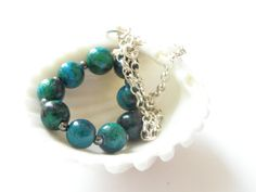Free shipping Chrysocolla casual bracelet double by gembracelet, $20.00