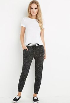 Striped-Waist Marled Sweatpants | Forever 21 - 2000171845