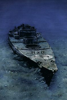 "WWII German battleship ""Bismarck"" in her final resting place, deep the Ocean. Abandoned Ships, Abandoned Places, Naval History, Military History, Navy Ships, Shipwreck, Aircraft Carrier, War Machine, Water Crafts"