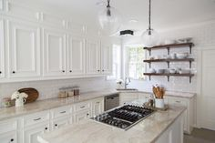 White Kitchen Cabinets With Cream Quartzite Countertops - Design photos, ideas and inspiration. Amazing gallery of interior design and decorating ideas of White Kitchen Cabinets With Cream Quartzite Countertops in kitchens by elite interior designers. Cream Kitchen Cabinets, Kitchen Redo, New Kitchen, White Cabinets, Kitchen White, Upper Cabinets, Kitchen Island, Hickory Kitchen, Cheap Kitchen