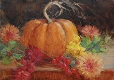 Pumpkin with Mums by Kathleen Kalinowski Examples Of Art, Pumpkin Painting, Still Life, Fall Decor, Cool Art, Favors, Pin Up, Heaven, Artists