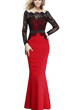 Viwenni Women Lace Maxi Solid Red Cocktail Prom Party Evening Dress Fromal Gown