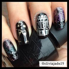 Polishes: OPI Black Onyx, Essie No Place Like Chrome, Essie Good As Gold, CG Harmony, CG Adore, CG Admire. Stamping plate by MoYou London