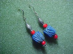 Carved Tibetan Lapis bead  earrings with red by LEFIALYNNCREATIONS, $25.00