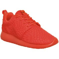Nike Roshe Run ($135) ❤ liked on Polyvore featuring shoes, athletic shoes, bright crimson dmb w, trainers, unisex sports, nike footwear, nike athletic shoes, nike, sports footwear e cushioned shoes