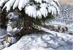 Finnish troops in ambush, Winter War - pin by Paolo Marzioli Military Diorama, Military Art, Military History, Luftwaffe, Diorama Militar, Army Drawing, Ww2 History, Ardennes, German Army