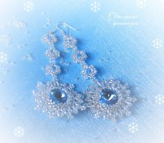 """Earrings with Swarovski crystals """"Snow whirls"""" :: Alyona Los"""