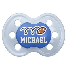 Personalized football pacifer for baby boy pacifiers #babies #pacifiers #baby #football #boy #personalized #customized #blue #sports