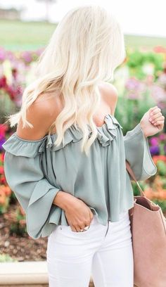olive green is the new black / off-the-shoulder top   white jeans The Best of fashion trends in 2017.