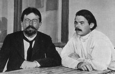 Anton Chekhov and Maxim Gorky. Chekhov was a Russian physician and author. Gorky, was a Russian and Soviet writer, a founder of the Socialist realism literary method and a political activist. Writers And Poets, Maxim Gorky, August Strindberg, Tom Wolfe, Anton Chekhov, Book Authors, Books, Russian Literature, Famous Words