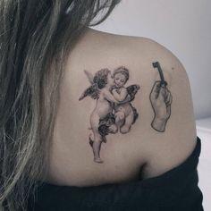 First Kiss - William Adolphe Bouguereau 🖤 - Tattoos Kiss Tattoos, Dope Tattoos, Back Tattoos, Pretty Tattoos, Body Art Tattoos, Small Tattoos, Sleeve Tattoos, Men Tattoos, Finger Tattoos