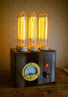 Pretty cool.    Steampunk Laboratory Lamp MI-6BLK. $249.00, via Etsy.