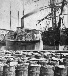 """The steamer """"Planter"""" with a load of cotton in Charleston, South Carolina prior to the Civil War Photo from the New York Public Library Digital Image Collection Civil War Heroes, Civil War Photos, New York Public Library, Image Collection, Digital Image, South Carolina, Sailing Ships, Freedom, Planters"""