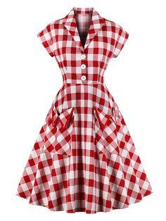 Red Pockets Plaid Dress – Retro Stage - Chic Vintage Dresses and Accessories Vintage Outfits, Vintage Dresses, Vintage Clothing, Vintage Hats, Robe Style Audrey Hepburn, Plus Size Maxi Dresses, Short Sleeve Dresses, 50 Style Dresses, Skater Dresses