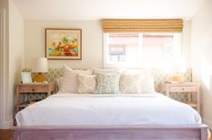 beach style bedroom with a clever headboard design
