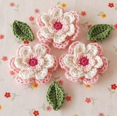 I just *love* crocheted flowers. I can't get enough of them.