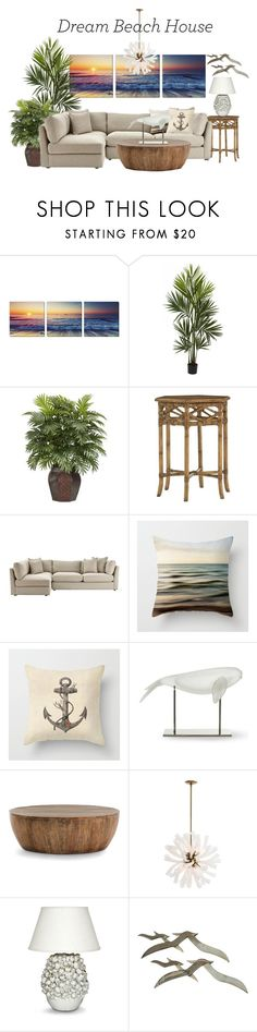 """""""Dream Beach House"""" by mia-christine ❤ liked on Polyvore featuring interior, interiors, interior design, home, home decor, interior decorating, Nearly Natural, Tommy Bahama, Home Decorators Collection and Williams-Sonoma"""