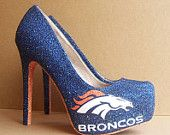 Denver Broncos High Heels... THIS WOULD BE CUTE FOR SOMETHING BLUE ON YOUR WEDDING