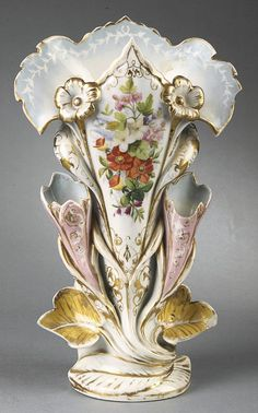 Paris Porcelain Gilt and Polychrome Flare Vases, mid-to-late 19th c.