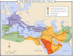 Spread of Islam: Dark orange, followed by yellow, then green. Blue indicates Christian territories.