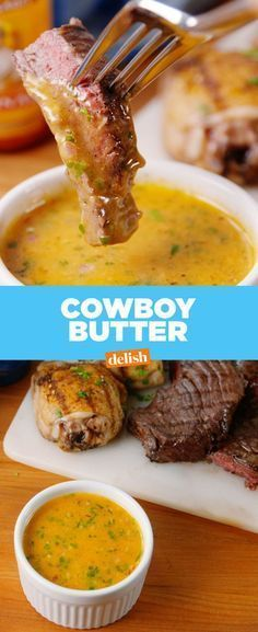 have we lived for so long without Cowboy Butter?How have we lived for so long without Cowboy Butter? Sauce Recipes, Seafood Recipes, Beef Recipes, Cooking Recipes, Potato Recipes, Recipies, Budget Cooking, Lobster Recipes, Cooking Eggs