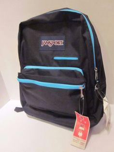 New Jansport Digital School Backpack Black Light Blue Zippers Unisex Bag Laptop #JanSport #Backpack